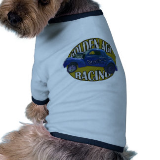 Golden Age Willys Gasser Drag Racing Blue and Gold Pet T-shirt