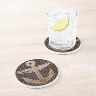 Golden Airship Anchor Beverage Coaster