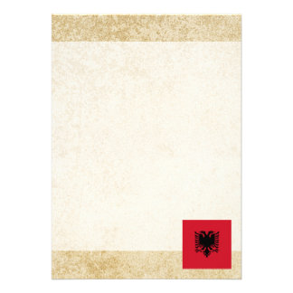 Golden Albania Flag 13 Cm X 18 Cm Invitation Card