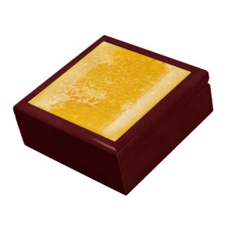 Golden amber fused glass large square gift box