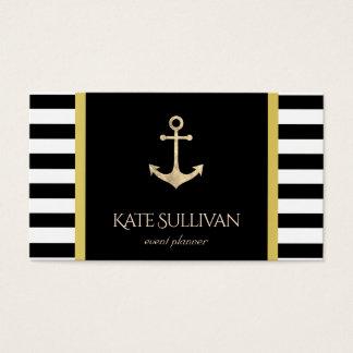 golden anchor on black stripes business card