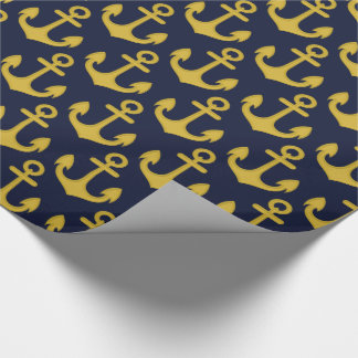 Golden Anchor on Navy Blue Background Wrapping Paper