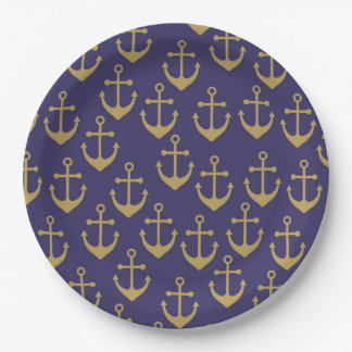 golden anchor paper plate
