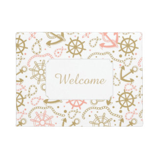 Golden Anchor Pattern | Add Your Text Doormat