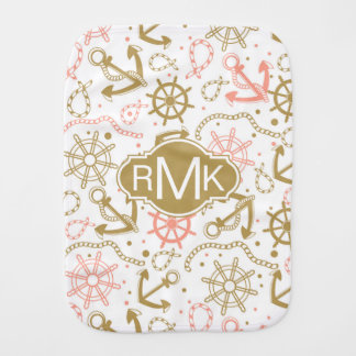 Golden Anchor Pattern | Monogram Burp Cloth