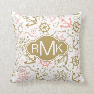 Golden Anchor Pattern | Monogram Cushion