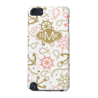 Golden Anchor Pattern | Monogram iPod Touch (5th Generation) Cover