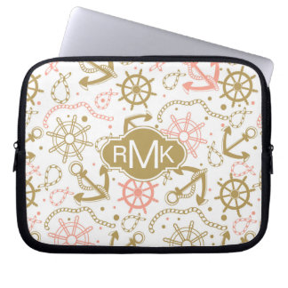 Golden Anchor Pattern | Monogram Laptop Sleeve