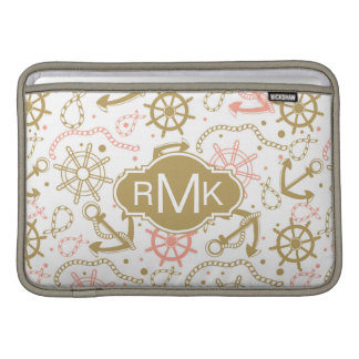 Golden Anchor Pattern | Monogram MacBook Sleeve