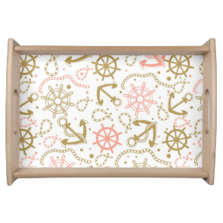 Golden Anchor Pattern Serving Tray