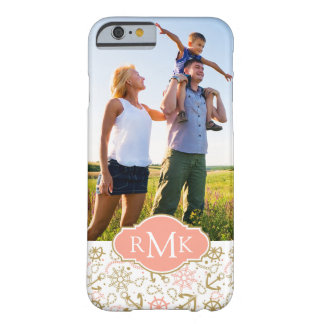 Golden Anchor Pattern  Your Photo & Monogram Barely There iPhone 6 Case