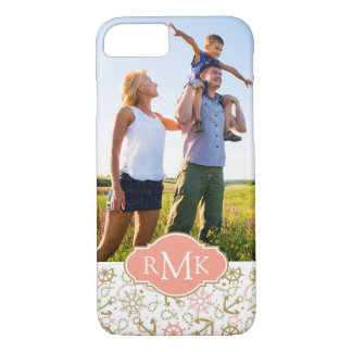 Golden Anchor Pattern| Your Photo & Monogram iPhone 8/7 Case