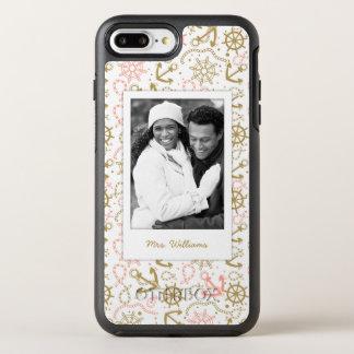 Golden Anchor Pattern | Your Photo & Name OtterBox Symmetry iPhone 8 Plus/7 Plus Case
