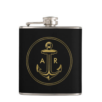Golden Anchor with initials Flasks