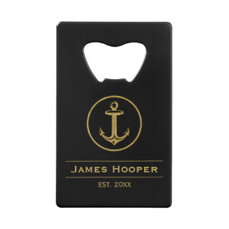 Golden anchor with name and date | Nautical Gifts