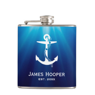 Golden Anchor with Rope | Nautical Gifts Flasks