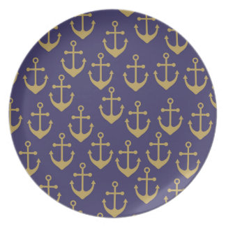 golden anchors melamine  plate