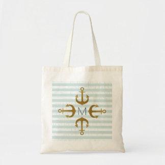 golden anchors nautical tote bag
