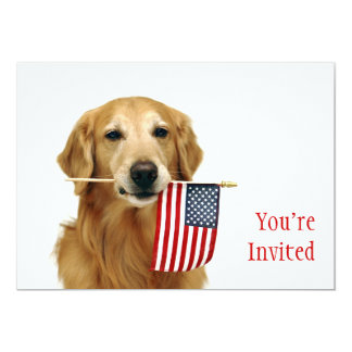 Golden and American Flag Card