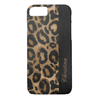 Golden and Black glitter  Leopard/ Jaguar print iPhone 8/7 Case