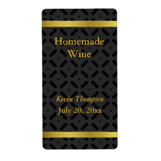 Golden and Black Homemade Wine Label Shipping Label