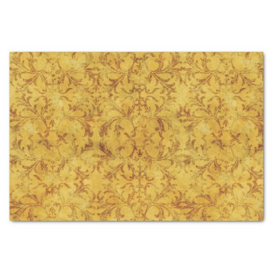Golden and Brown Damask Tissue Paper