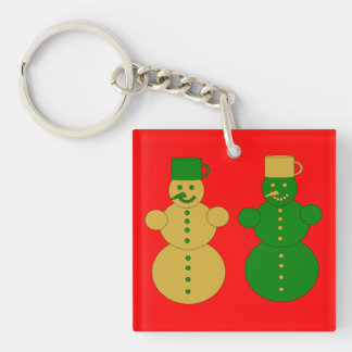 Golden and green snowmen keychain