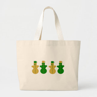 Golden and green snowmen large tote bag