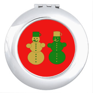 Golden and green snowmen mirrors for makeup