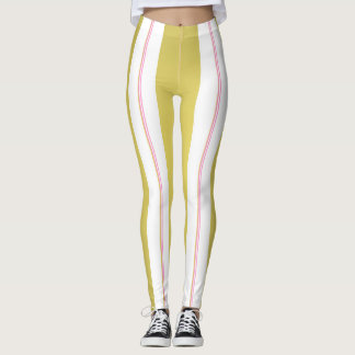 Golden and pink stripes leggings