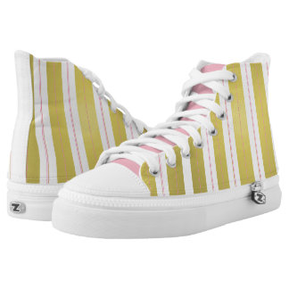 Golden and pink stripes printed shoes