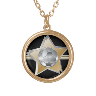 Golden and silver effect Soccer ball Star Gold Plated Necklace