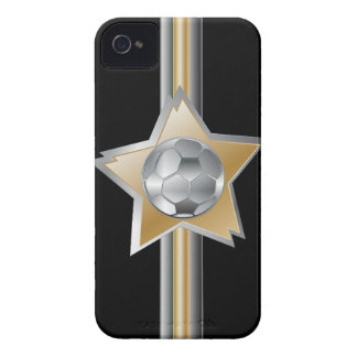 Golden and silver effect Soccer ball Star iPhone 4 Case-Mate Cases