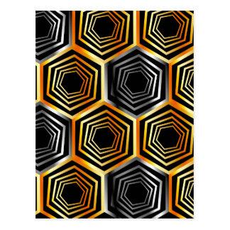 Golden and silver hexagonal background postcard