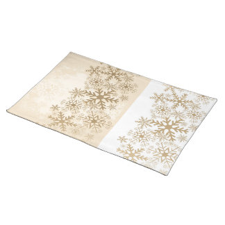 Golden and white Christmas mat