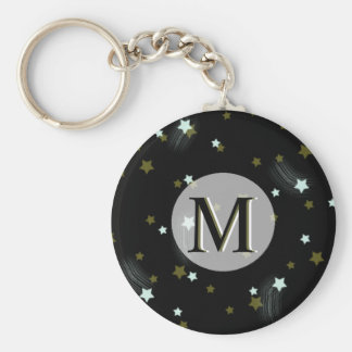 Golden and White falling Stars with Monogram Basic Round Button Key Ring