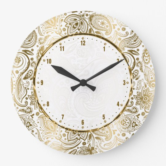 Golden And White Floral Paisley Large Clock