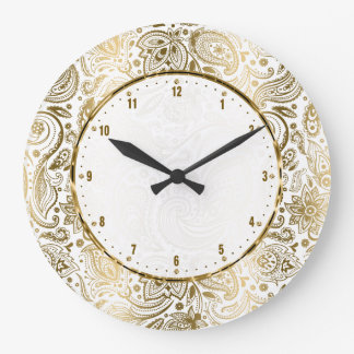 Golden And White Floral Paisley Wallclock