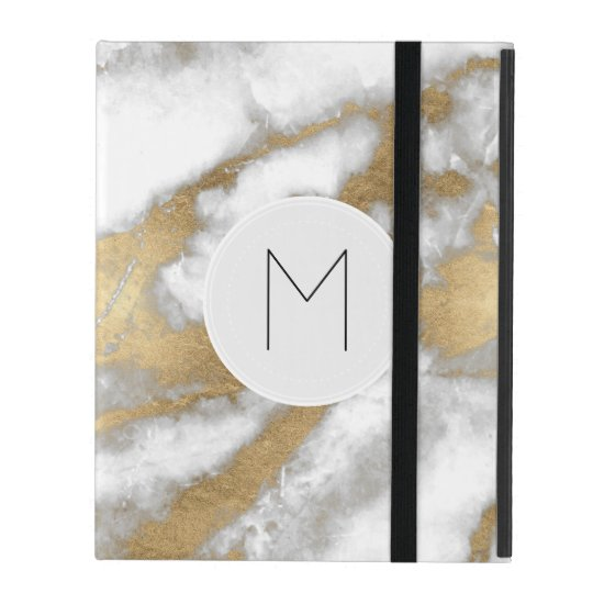 Golden and White Marble iPad Case
