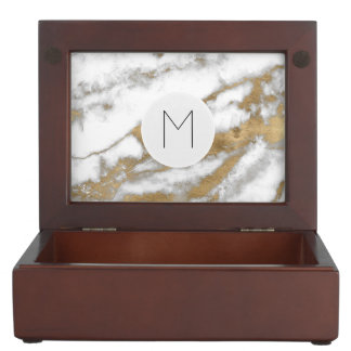 Golden and White Marble Keepsake Box