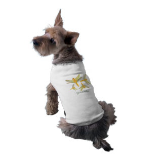 Golden and Yellow Dragonfly Sleeveless Dog Shirt
