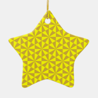 Golden and yellow triangles pattern christmas ornament