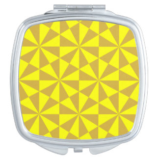 Golden and yellow triangles pattern travel mirrors