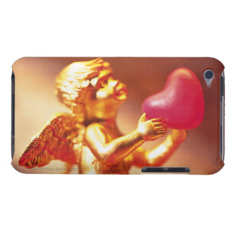 Golden angel holding pink heart, side view, soft barely there iPod cases