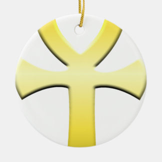 Golden Ankh Round Ceramic Decoration