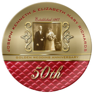 Golden Anniversary 50th Gold Quilted Red Leather Plate