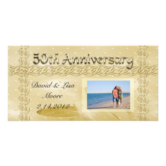 Golden Anniversary Bands Of Love Set Personalized Photo Card