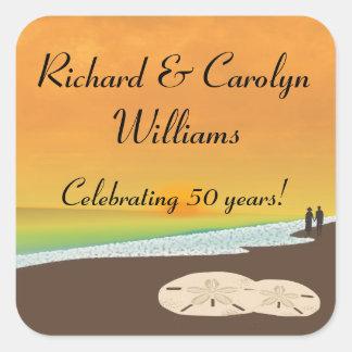 Golden Anniversary Beach Theme Square Sticker