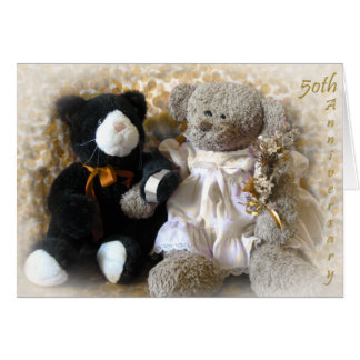 Golden Anniversary Bouquet from Bear Greeting Card