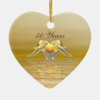 Golden Anniversary Dolphins and Heart Christmas Ornament